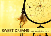 Beautiful dream catcher on yellow background — Stock Photo