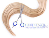 Long blond hair and scissors isolated on white — Stock Photo
