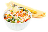 Cooked rice with vegetables isolated on white — Stockfoto