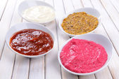 Various sauces on table close-up — Foto de Stock