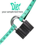 Conceptual photo of unlocking  secret of weight loss, Isolated on white — Stock Photo