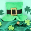 Saint Patrick day hat with clover leaves and golden coins on green background — Stock Photo #41771083