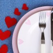 Valentines day dinner with table setting on blue background — Stock Photo #41772937