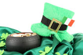 Saint Patrick day hat, pot of gold coins and Irish flag, isolated on white — Stock Photo