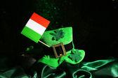 Saint Patrick day hat, pot of gold coins and Irish flag on black shiny background — Stock Photo