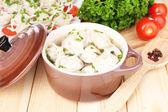 Meat dumplings - russian boiled pelmeni close up — Stock Photo