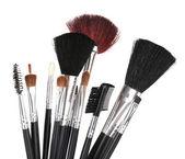 Set of make-up brushes isolated on white — Stockfoto