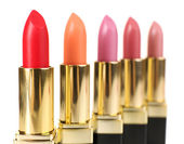 Beautiful lipsticks isolated on white — Stock Photo