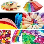 Collage of photos in rainbow colors — Stok fotoğraf