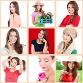 Collage of portraits young beautiful girl — Foto de Stock