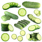 Collage of cucumbers isolated on white — Stock Photo