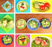 Collage of fun food for kids — Stock Photo