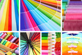 Collage of photos in rainbow colors — Stock Photo