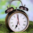 Retro alarm clock on grass on natural background — Stok fotoğraf