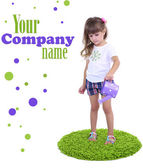 Little girl watering green grass isolated on white — Stock Photo