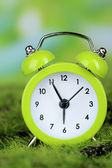 Green alarm clock on grass on natural background — Stock Photo