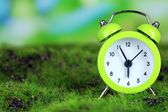 Green alarm clock on grass on natural background — Stok fotoğraf