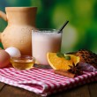 Stock Photo: Eggnog with milk and eggs on tablecloth on natural background