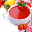 Stock Photo: Tasty tomato soup and vegetables, isolated on white