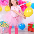 Stock Photo: Pretty little girl celebrate her birthday