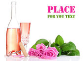 Composition with pink sparkle wine in glass, bottle and pink roses isolated on white — Foto de Stock
