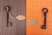 Keys with empty tag, on color wooden background — Foto Stock