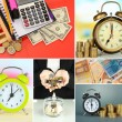 Stock Photo: Business collage. Concept of time and money