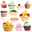 Stock Photo: Sweet desserts isolated on white