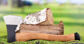 Ax and firewood on green grass, on nature background — Foto Stock