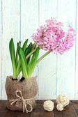 Pink hyacinth in pot on table on wooden background — Stok fotoğraf