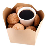 Hot coffee and cookies in box isolated on white — Stock Photo