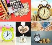 Business collage. begreppet tid och pengar — Stockfoto