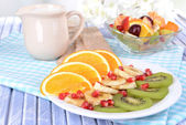 Sweet fresh fruits on plate on table close-up — Stock Photo