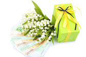 Gift box with money and flowers isolated on white — Stock fotografie