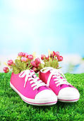 Beautiful gumshoes with flowers inside on green grass, on bright background — Stock Photo