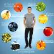 Collage of the most useful foods for human — Stock Photo #42325587