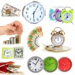 Stock Photo: Collage of clocks and money isolated on white