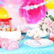Festive table setting for birthday on celebratory decorations  — Stock Photo #42326811