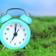 Blue alarm clock on grass on natural background — Zdjęcie stockowe