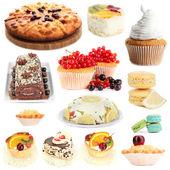 Sweet desserts isolated on white — Stock Photo
