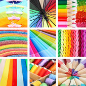 Collage of photos in rainbow colors — Photo