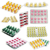 Collage of pills isolated on white — Stock Photo