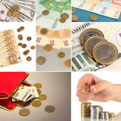 Collage of money — Stock Photo