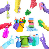 Collage of cleaning equipment  in hands isolated on white — Stock Photo