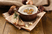 Mushroom soup in pot, on wooden background — Foto de Stock