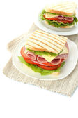 Tasty sandwiches with ham, isolated on white — Stock Photo