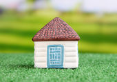 Little house on green grass, on bright background — Stock Photo