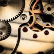 Clockwork details, pinions and wheels closeup — Stock Photo #42473729