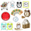 Collage of clocks and money isolated on white — Stockfoto