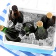 Ice chest full of drinks in bottles on color napkin, isolated on white — Stock Photo #42476587